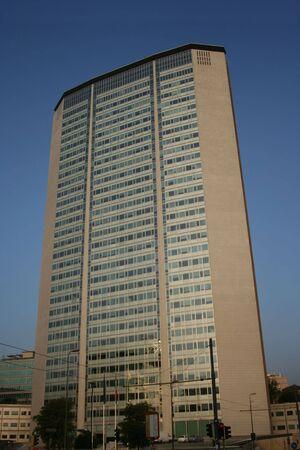 pirelli: wide facade of Pirelli Building Milan Italy