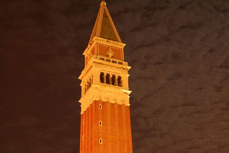 st marks square: top of Campanile St Marks Square Venice at night Stock Photo