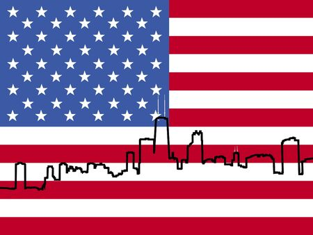 outline of Chicago Skyline with American flag illustration