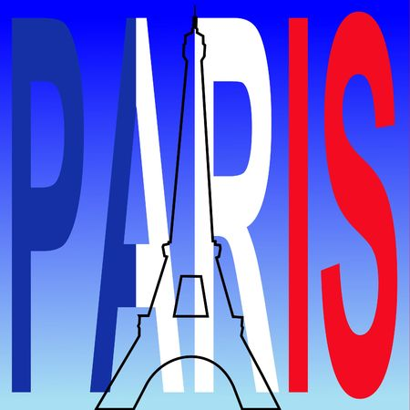 french text: Eiffel tower outline with Paris flag text Stock Photo
