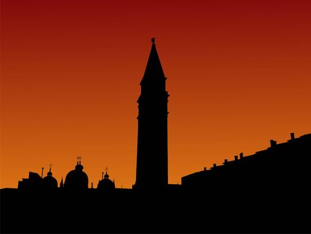 st marks square: St Marks Square with Campanile Venice at sunrise illustration
