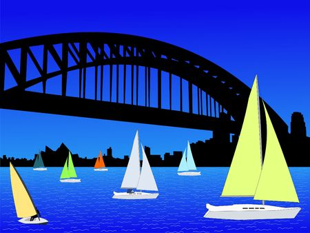 Yachts with Sydney skyline with harbour bridge