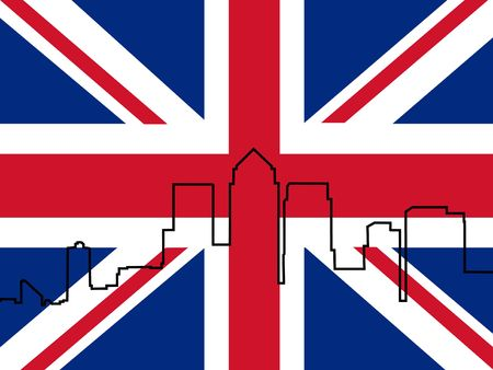 canary wharf: London Docklands Skyline outline and British Flag