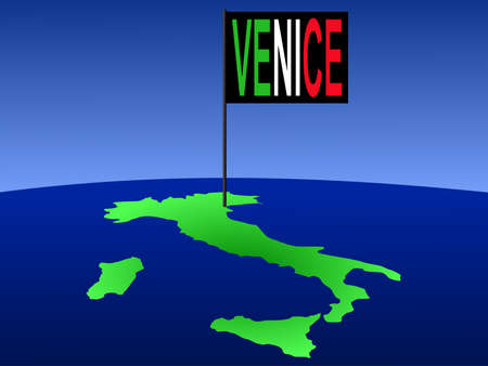 Map of Italy with Venice flag illustration illustration