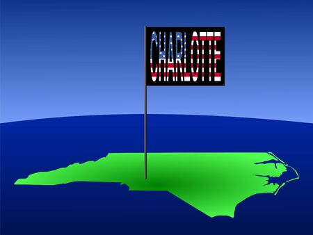 charlotte: Map of North Carolina with Charlotte flag