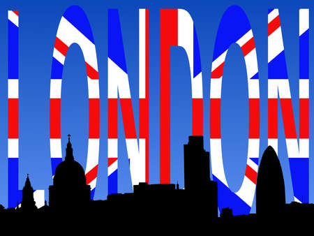 St Paul's cathedral and London skyscrapers with flag text Stock Photo