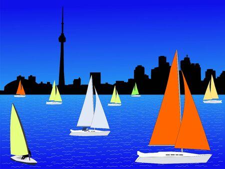 toronto: colourful yachts on Lake Ontario and Toronto skyline Stock Photo