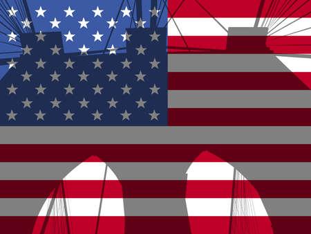 brooklyn bridge: Brooklyn bridge tower against American Flag illustration