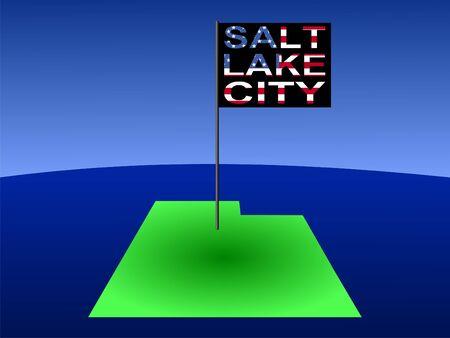 salt lake city: Map of Utah with position of Salt Lake City marked by flag pole illustration Stock Photo