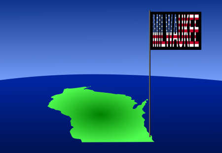 milwaukee: Map of Wisconsin with position of Milwaukee marked by flag pole illustration