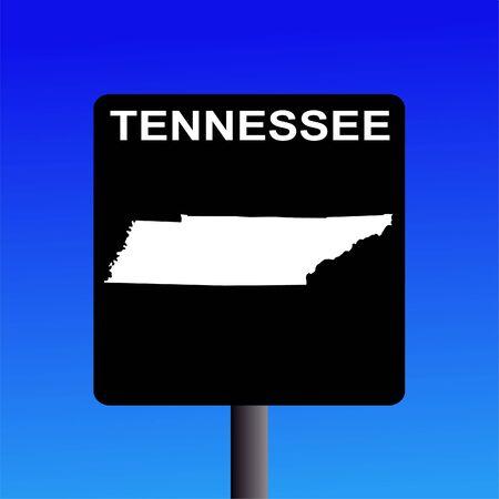 Blank Tennessee highway sign on blue illustration illustration