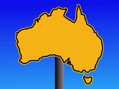 warning sign in shape of Australia on blue illustration illustration