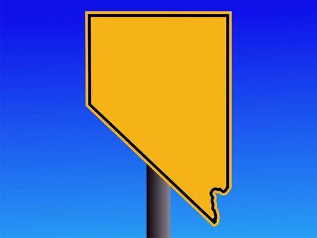 nevada: warning sign in shape of Nevada on blue illustration