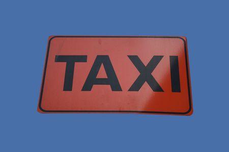 taxista: Taxi cabs �nico signo aislado en azul