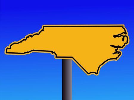 warning sign in shape of North Carolina on blue illustration illustration