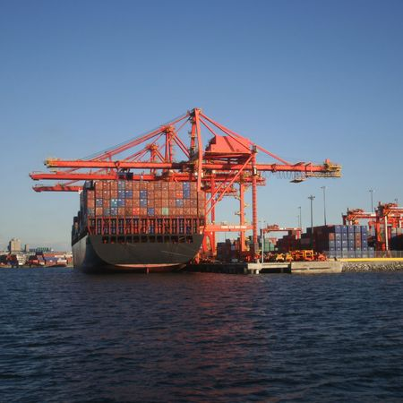 container ship at Port of Vancouver