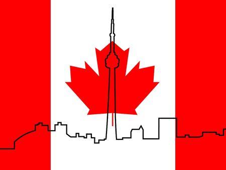 toronto: Toronto skyline outline against Canadian Flag illustration