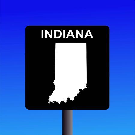indiana: Blank Indiana highway sign on blue illustration