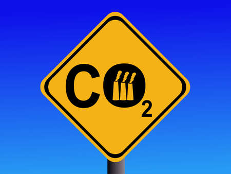 emissions: Warning CO2 emissions from industry sign illustration Stock Photo