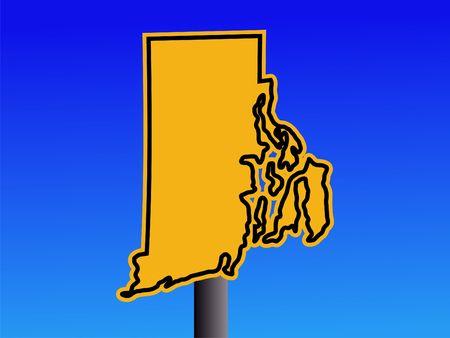 warning sign in shape of Rhode Island on blue illustration illustration