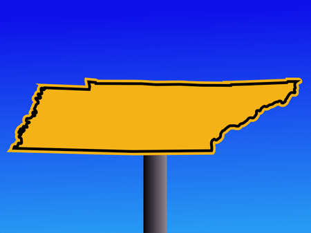 warning sign in shape of Tennessee on blue illustration illustration