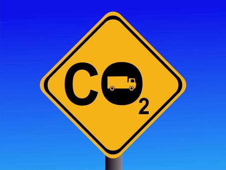 CO2 emissions: Warning CO2 emissions from trucks sign illustration