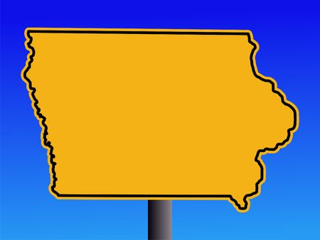 iowa: Warning sign in shape of Iowa on blue illustration