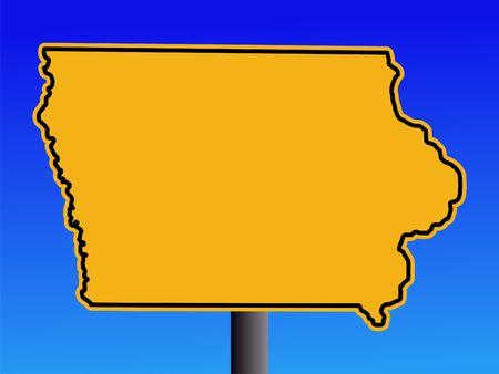 iowa: Warning sign in shape of Iowa on blue illustration