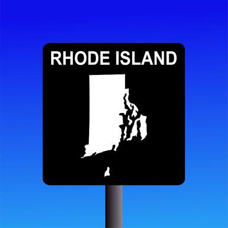 Blank Rhode Island highway sign on blue illustration illustration
