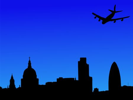 gherkin building: plane flying over St Pauls cathedral and London skyscrapers