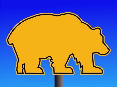 warning bear road sign on blue illustration Stock Illustration - 1963970