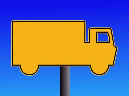 symbol vigilance: warning truck sign on blue illustration
