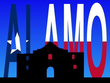 texan: The Alamo San Antonio with Texan flag illustration