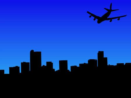 denver: four engine plane flying to Denver skyline Stock Photo