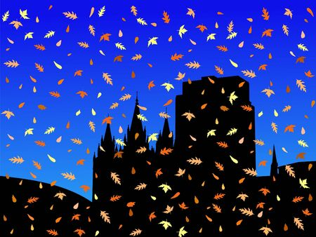 tabernacle: Salt Lake city skyline in autumn with falling leaves