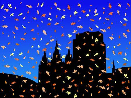 salt lake city: Salt Lake city skyline in autumn with falling leaves