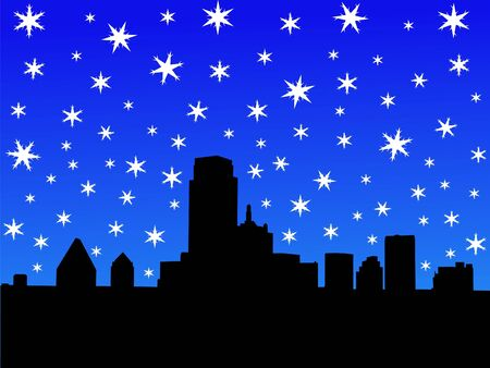 iciness: Dallas Skyline in winter with falling snow illustration