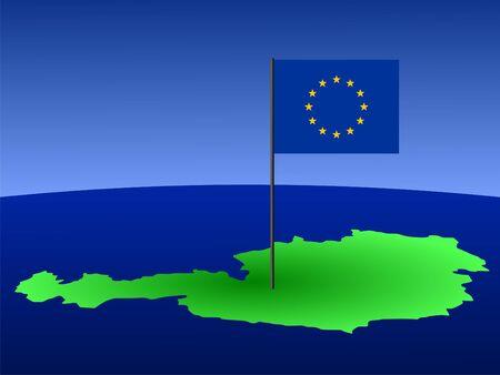 austrian: map of Austria and European Union flag on pole illustration Stock Photo