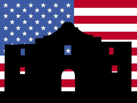 texan: The Alamo San Antonio with American flag illustration Stock Photo