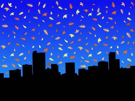 denver: Denver skyline in autumn with falling leaves illustration Stock Photo