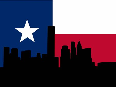 texan: Houston skyline with Texan flag illustration