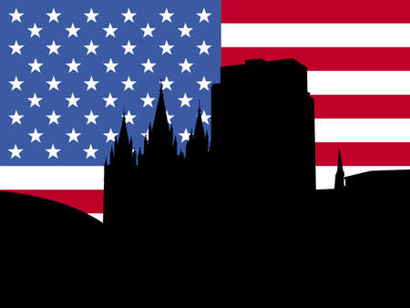 tabernacle: Salt Lake city skyline with American flag illustration