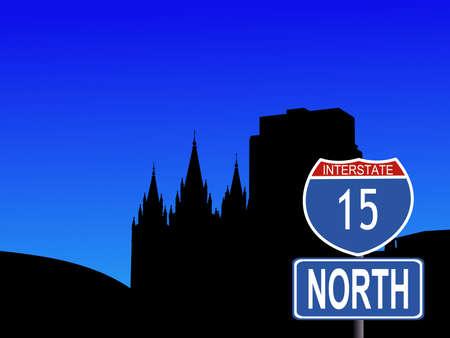 salt lake city: Salt Lake city skyline with interstate 15 sign