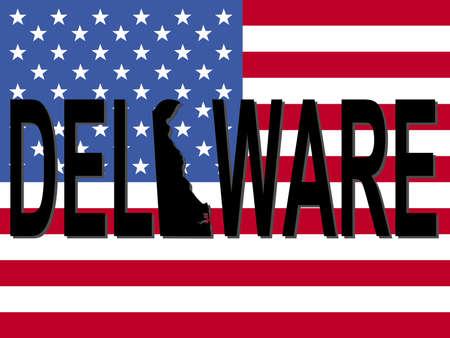 Delaware text with map on American flag illustration Reklamní fotografie - 2084823