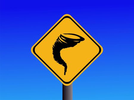 Warning tornado risk sign on blue illustration  Stock Photo