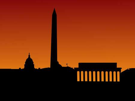 Washington DC skyline with monuments at sunset photo