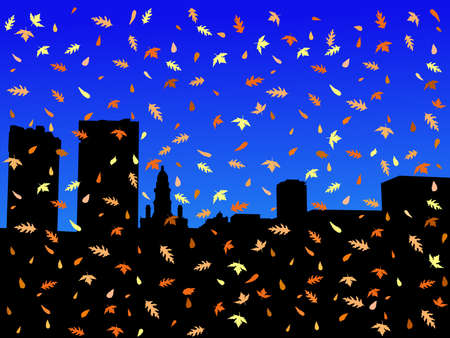 fort worth Skyline in autumn with falling leaves photo