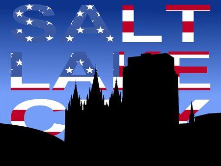 salt lake city: Salt Lake city skyline with flag text Stock Photo
