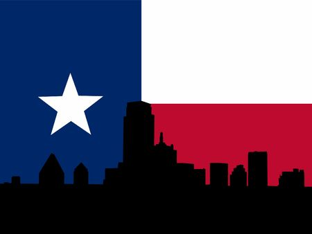 texan: Dallas Skyline with Texan flag illustration