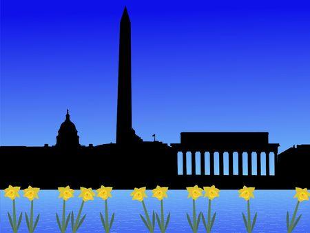 Washington DC skyline in spring with daffodils Stock Photo